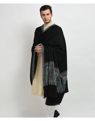 Black Pure Pashmina Sozni Hand Embroidered Men's Shawl
