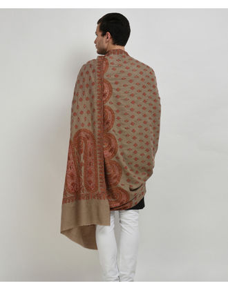 Natural Pure Pashmina Jamawar Sozni Hand Embroidered Men's Shawl