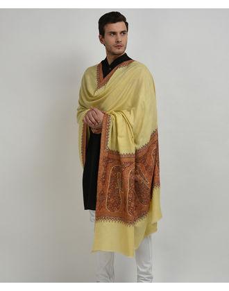 Lemon Yellow Pure Pashmina Sozni Hand Embroidered Men's Shawl
