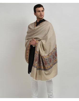 Light Natural Pure Pashmina Papier Mache Hand Embroidered Men's Shawl