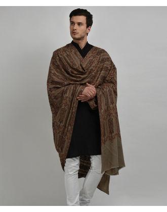 Dark Natural Pure Pashmina Jamawar Sozni Hand Embroidered Men's Shawl