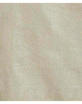 Ivory Pure Pashmina Jamawar Sozni Hand Embroidered Men's Shawl