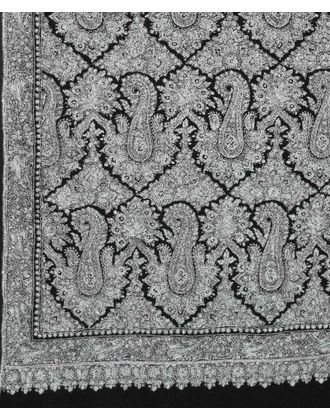Masterpiece Black Pure Pashmina Jamawar Sozni Hand Embroidered Men's Shawl