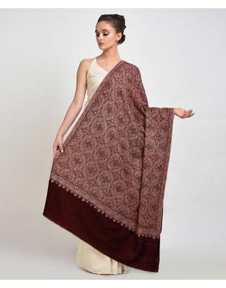 Dark Maroon Silk Thread Hand Embroidered Jamawar Sozni Shawl