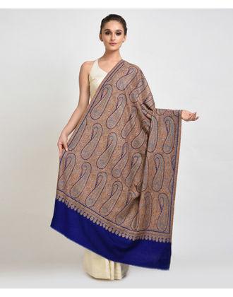 Royal Blue Sozni Hand Embroidered Jamawar Pure Pashmina Shawl