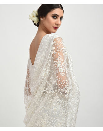 """"""" Once Upon a Time """" White Embroidered Net Saree"""