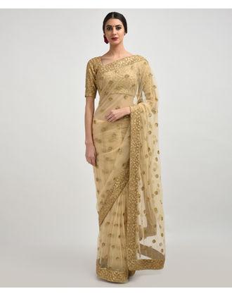 Beige Gold Zari & Sequin Embroidered Net Saree