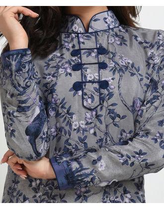 Grey Floral and Birds Digital Print Suit