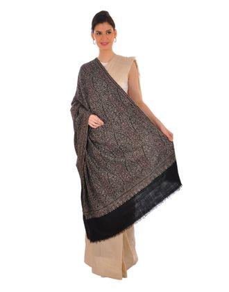 Black Pure Kashmir Pashmina Sozni Hand Embroidered Shawl