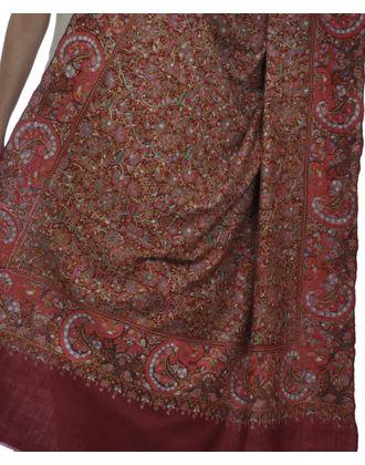 Maroon Papier Mache Hand Embroidered Jamawar Pure Pashmina Shawl
