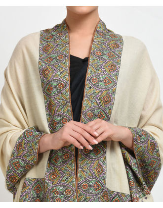 Ivory Pure Pashmina Papier Mache Hand Embroidered Shawl