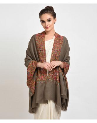 Dark Natural Silk Thread Hand Embroidered Totkaar & Papier Mache Shawl