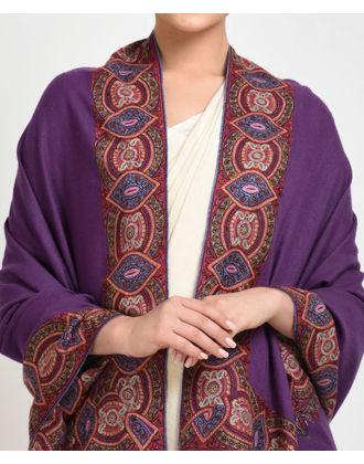 Purple Pure Kashmir Pashmina Sozni Hand Embroidered Shawl