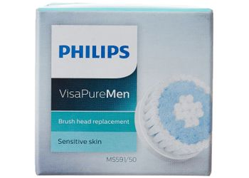 Philips Visa Pure MS591/50 Men Brush Head Replacement for Sensitive Skin (Blue/White)