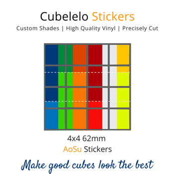 Cubelelo 4x4 62mm AoSu Stickers