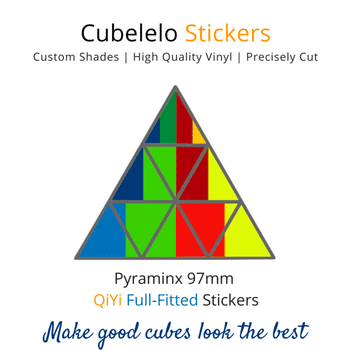 Cubelelo Pyraminx 97mm QiYi Full Fitted Stickers