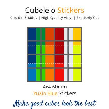 Cubelelo 4x4 60mm YuXin Blue Stickers