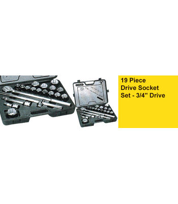 STANLEY , 15 Pc dr 12pt Sockets: 22, 24, 27, 28, 29, 30, 32, 33, 34, 36, 38, 41, 42, 46, 50mm 4 Pc 3/4