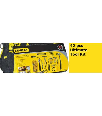 STANLEY 42 pcs Ultimate Tool Kit, 8pcs Hex key Wrench with Holder:1/16?5/64?3/32?1/8?5/32?3/16?7/32?1/4 8pcs Hex key Wrench with Holder:1.5,2,2.5,3, 4,5,5.5,6mm 1pc 12ft Adhesive tape 1pc 12ft Adhesive tape 10pcs 25L BIT with Holder 4pcs Precision Screwdr