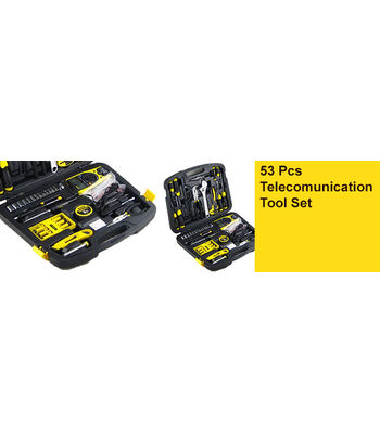 STANLEY 53 Pcs Telecommunication Tool Set,Cushion Grip Screwdrivers 111x75, /11x150, 02.15 112x100mm, 3X75, 6.5x40, 6.5x100mm Tape - 3m Utility Knife Diagonal Pliers 6