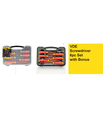 Stanley,VDE Screwdriver 6pc Set with Bonus