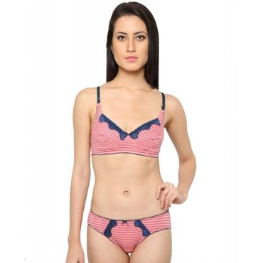 Cotton Rich Printed  Bra-Pink