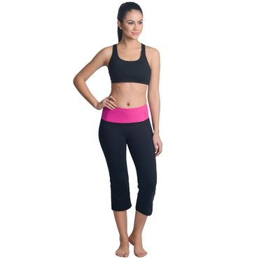 Sporty Pink Black Capri