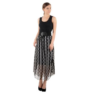 A- Line Black Strips Cute Dress