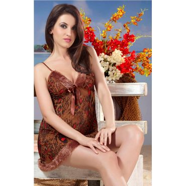 Lacy Leopard Print Nightdress- Brown