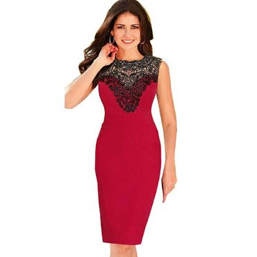 Sleeveless Red Crochet Lace Dress