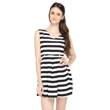 Black & White Strips Skater Dress