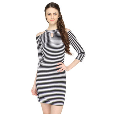 Black Strips Halter Dress