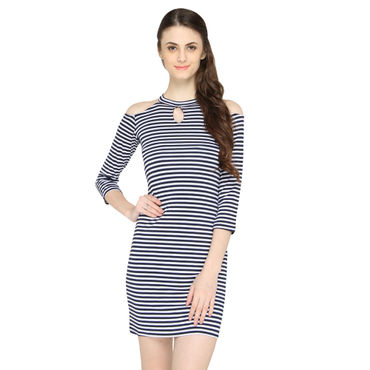 Blue Strips Halter Dress