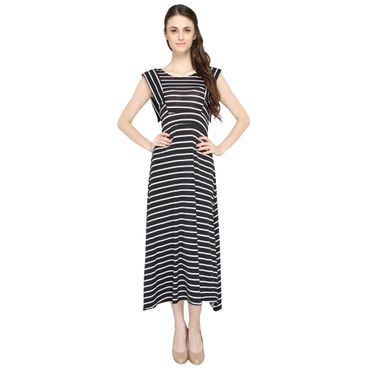 A-Line Black & White Strips dress