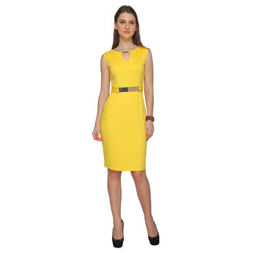 V-Neck Sheath Yellow  Party Dress