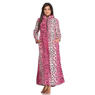 Long Nighty in Leopard Print  Babypink Color