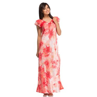 Long Nighty with Orange Floral