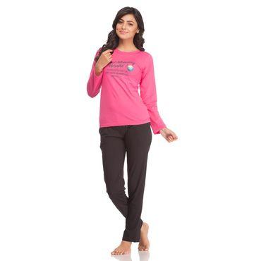 Hot  Pink Hosiery Night Suit