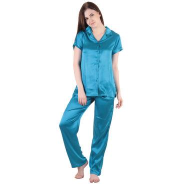Blue Satin Top & Pajama