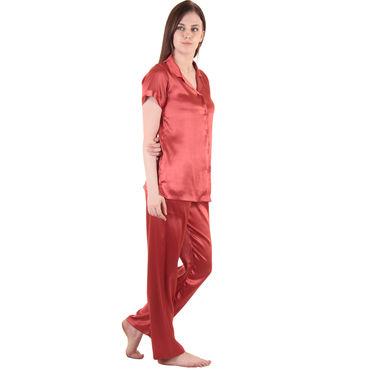 Maroon Satin Top & Pajama