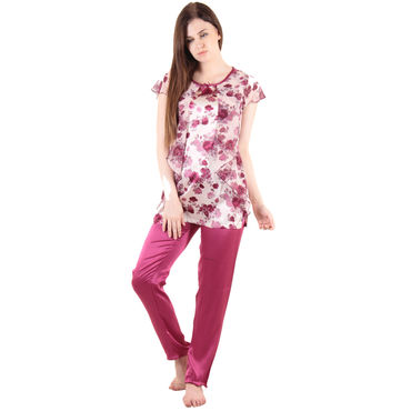 Wine Satin Top & Pajama