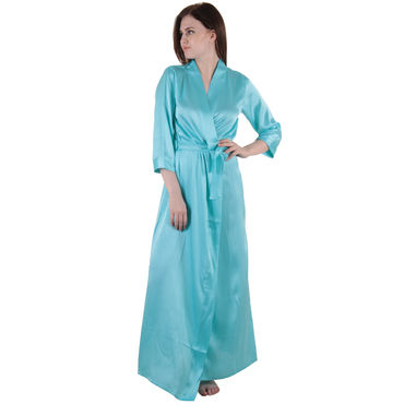 Blue Satin Robe