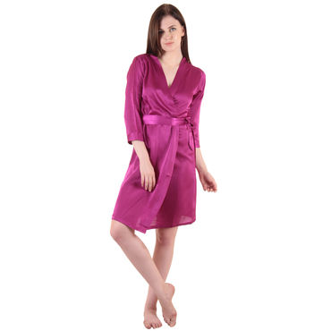 Purple Satin Short Robe