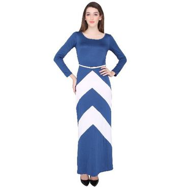 Full length Blue white dress