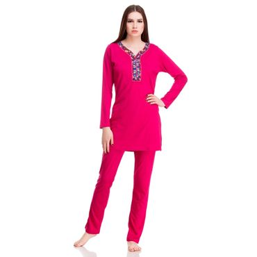 Top & Pajama In Red Color