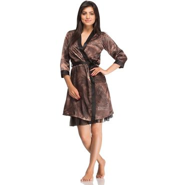Satin Brown Nighty- Two Piece Set