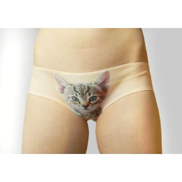 Cat Printed Hipsters Anti-exposure Panty - Beige