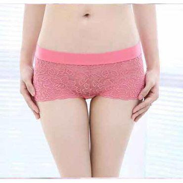 Cotton Lace Bamboo Panty -Pink