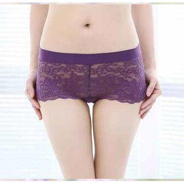 Cotton Lace Transparent Bamboo Panty -Purple