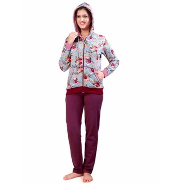 Fleece Night Suit Green Floral